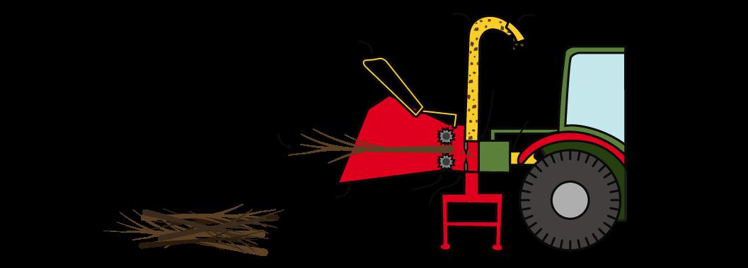 Schéma d'un broyeur de végétaux à prise de force